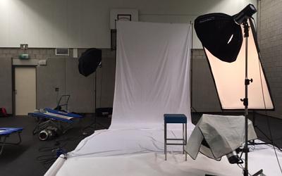 Fotoshoot in de gymzaal